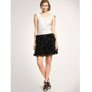 GAP Tiered Tulle Cocktail Dress 2 Black Cream